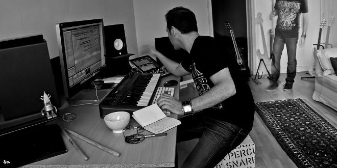 Pole Folder creating music in the studio