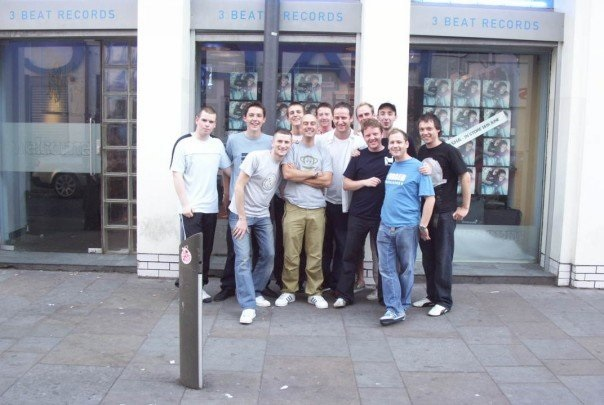 photograph of steve parry with the 3 beat records crew with sasha