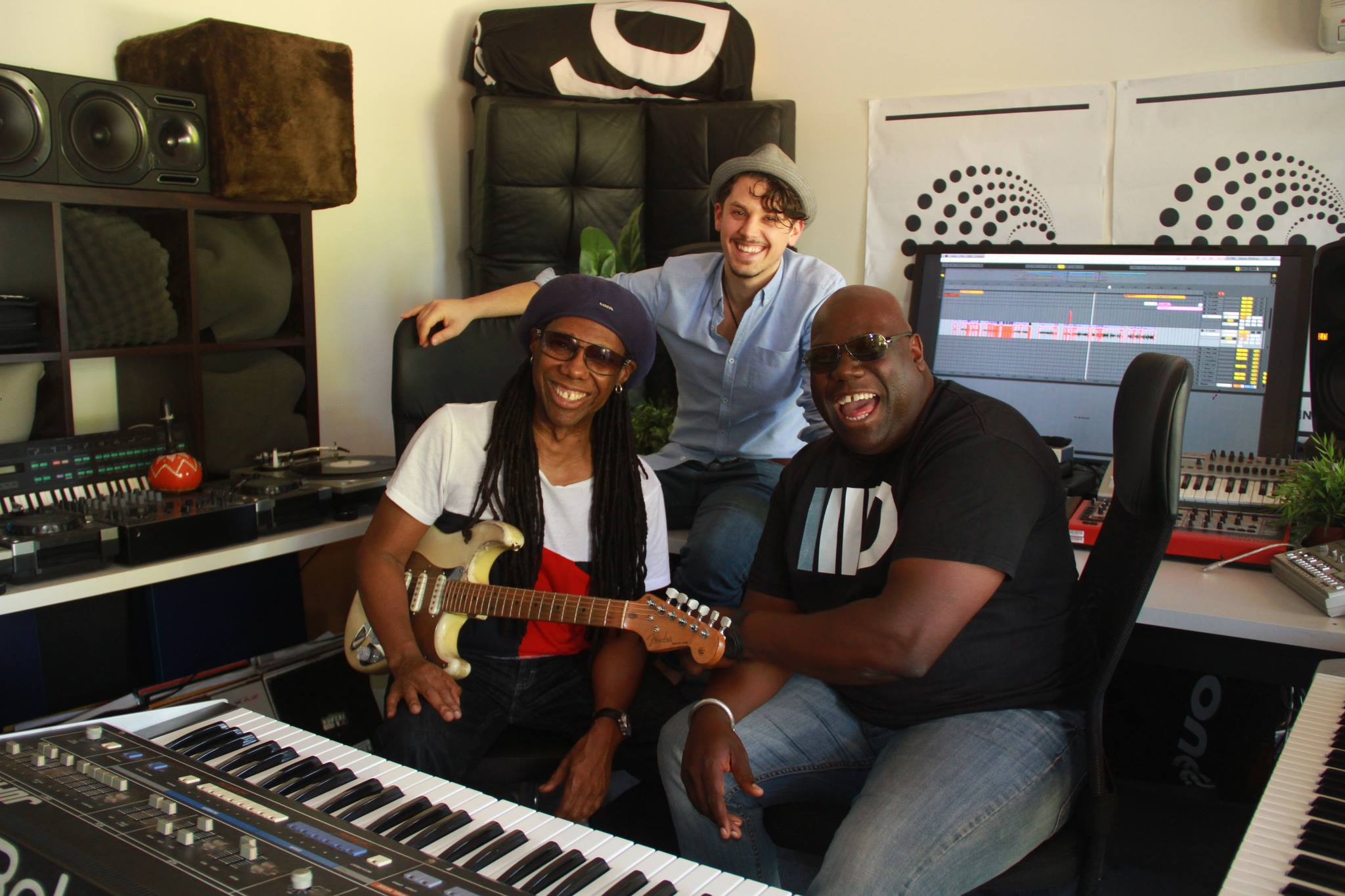 steve ward in the studio with nile rogers and carl cox